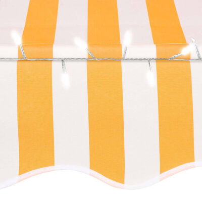 """vidaXL Manual Retractable Awning with LED 137.8"""" White and Orange"""