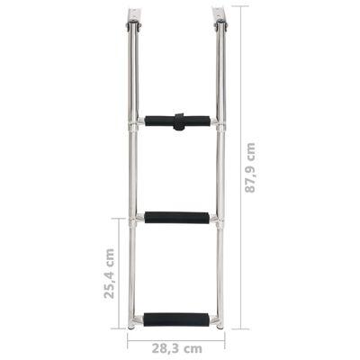 vidaXL Folding Boarding Ladder 3-step Stainless Steel