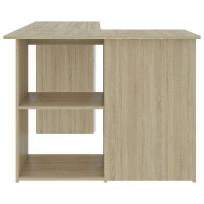 """vidaXL Corner Desk White and Sonoma Oak 57.1""""x39.4""""x29.9"""" Chipboard"""