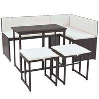 vidaXL 5 Piece Outdoor Dining Set Steel Poly Rattan Brown