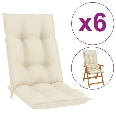 """vidaXL Garden Chair Cushions 6 pcs Cream 47.2""""x19.7""""x2.8"""""""