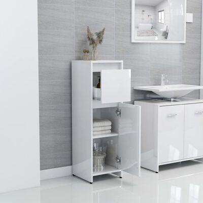 "vidaXL Bathroom Cabinet High Gloss White 11.8""x11.8""x37.4"" Chipboard"