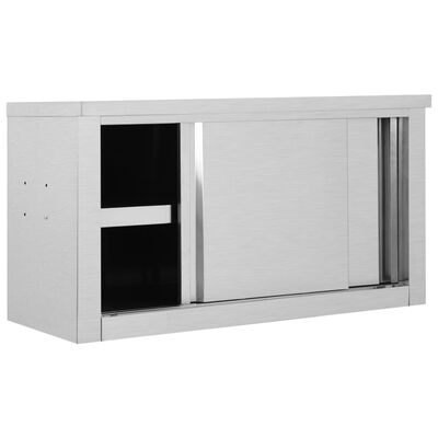 """vidaXL Kitchen Wall Cabinet with Sliding Doors 35.4""""x15.7""""x19.7"""" Stainless Steel"""
