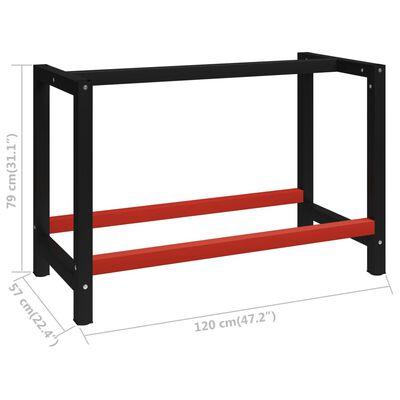 "vidaXL Work Bench Frame Metal 47.2""x22.4""x31.1"" Black and Red"