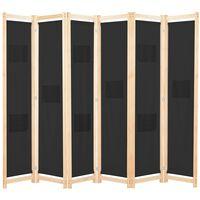 "vidaXL 6-Panel Room Divider Black 94.5""x66.9""x1.6"" Fabric"