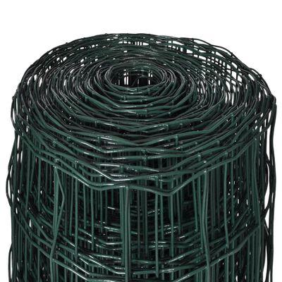 vidaXL Euro Fence Steel 82ft x 4.9ft Green