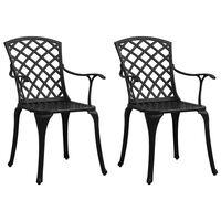 vidaXL Garden Chairs 2 pcs Cast Aluminum Black