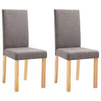 vidaXL Dining Chairs 2 pcs Taupe Fabric