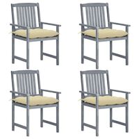 vidaXL Director's Chairs with Cushions 4 pcs Gray Solid Acacia Wood