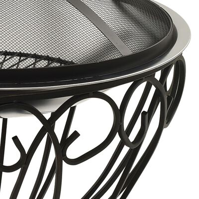 """vidaXL 2-in-1 Fire Pit and BBQ with Poker 23.2""""x23.2""""x23.6"""" Stainless Steel"""