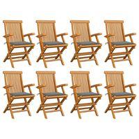 vidaXL Garden Chairs with Gray Cushions 8 pcs Solid Teak Wood