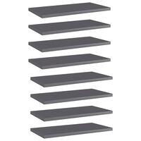 "vidaXL Bookshelf Boards 8 pcs High Gloss Gray 15.7""x7.9""x0.6"" Chipboard"