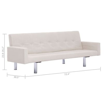 vidaXL Sofa Bed with Armrest Cream Fabric