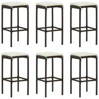 vidaXL Bar Stools with Cushions 6 pcs Brown Poly Rattan
