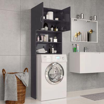 "vidaXL Washing Machine Cabinet High Gloss Gray 25.2""x10""x74.8"""