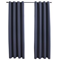 """vidaXL Blackout Curtains with Rings 2 pcs Anthracite 54""""x84"""" Fabric"""