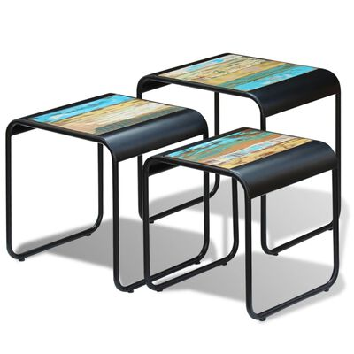 vidaXL Three Piece Nesting Tables Solid Reclaimed Wood