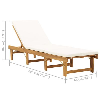 vidaXL Folding Sun Lounger with Cushion Solid Acacia Wood Cream White