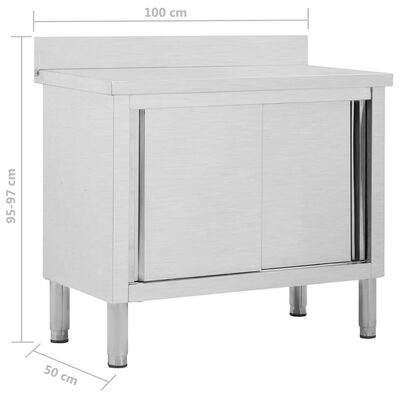 "vidaXL Work Table with Sliding Doors 39.4""x19.7""x(37.4""-38.2"") Stainless Steel"