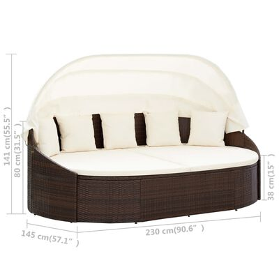 vidaXL Outdoor Lounge Bed with Canopy Poly Rattan Brown