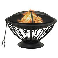"""vidaXL Fire Pit with Poker 29.5 XXL Steel"""""""