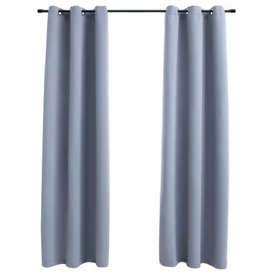 """vidaXL Blackout Curtains with Rings 2 pcs Gray 37""""x84"""" Fabric"""