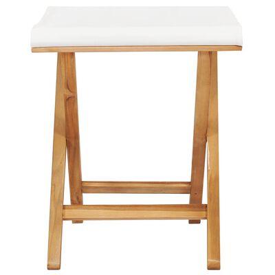 vidaXL Folding Chairs 2 pcs Solid Teak Wood and Fabric Cream White