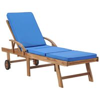 vidaXL Sun Lounger with Cushion Solid Teak Wood Blue