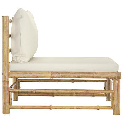 vidaXL Garden Middle Sofa with Cream White Cushions Bamboo
