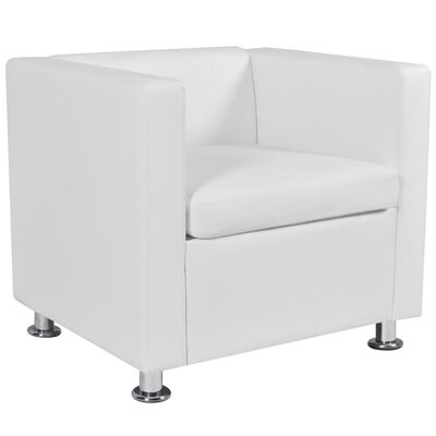 vidaXL Sofa Set Armchair and 2-Seater White Faux Leather
