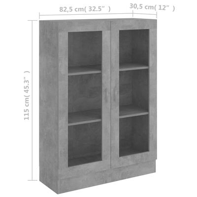 "vidaXL Vitrine Cabinet Concrete Gray 32.5""x12""x45.3"" Chipboard"