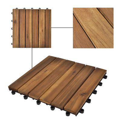 "vidaXL Decking Tiles Vertical Pattern 11.8""x11.8"" Acacia Set of 30"