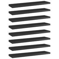"vidaXL Bookshelf Boards 8 pcs High Gloss Black 15.7""x3.9""x0.6"" Chipboard"