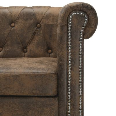 vidaXL L-shaped Chesterfield Sofa Artificial Leather Brown