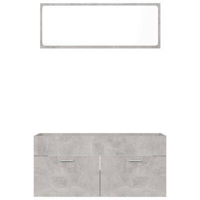 vidaXL 2 Piece Bathroom Furniture Set Concrete Gray Chipboard
