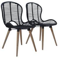 vidaXL Dining Chairs 2 pcs Black Natural Rattan