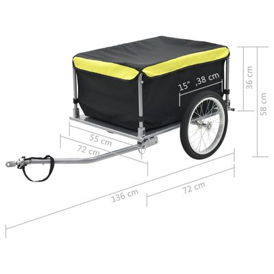 vidaXL Bike Cargo Trailer Black and Yellow 65 kg
