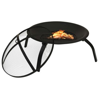 """vidaXL 2-in-1 Fire Pit and BBQ with Poker 22""""x22""""x19.3"""" Steel"""