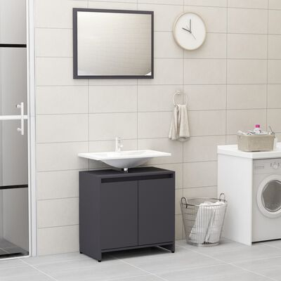 vidaXL Bathroom Furniture Set Gray Chipboard