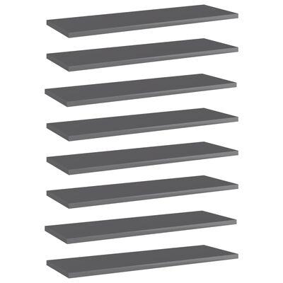 "vidaXL Bookshelf Boards 8 pcs High Gloss Gray 23.6""x7.9""x0.6"" Chipboard"