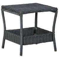 """vidaXL Garden Table Dark Gray 17.7""""x17.7""""x18.3"""" Poly Rattan"""