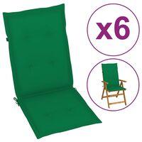 "vidaXL Garden Chair Cushions 6 pcs Green 47.2""x19.7""x1.6"""
