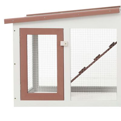 """vidaXL Outdoor Large Rabbit Hutch Brown and White 80.3""""x17.7""""x33.5"""" Wood"""