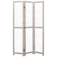 "vidaXL 3-Panel Room Divider White 41.3""x64.7"" Solid Wood"