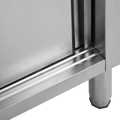 "vidaXL Work Table with Sliding Doors 47.2""x19.7""x(37.4""-38.2"")  Stainless Steel"