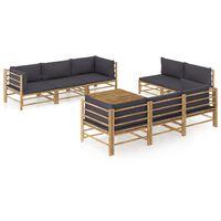 vidaXL 9 Piece Garden Lounge Set with Dark Gray Cushions Bamboo