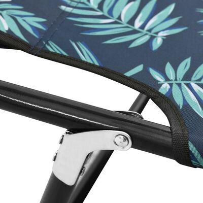 vidaXL Folding Sun Lounger Steel Leaf Pattern