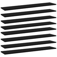 """vidaXL Bookshelf Boards 8 pcs Black 39.4""""x7.9""""x0.6"""" Chipboard"""