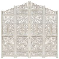 """vidaXL Hand carved 4-Panel Room Divider White 63""""x65"""" Solid Mango Wood"""