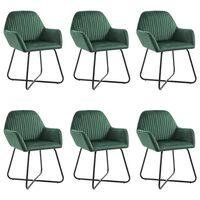 vidaXL Dining Chairs 6 pcs Green Velvet